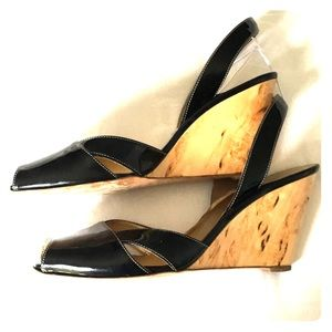 Prada black patent peep sandal, wood wedge sz 9